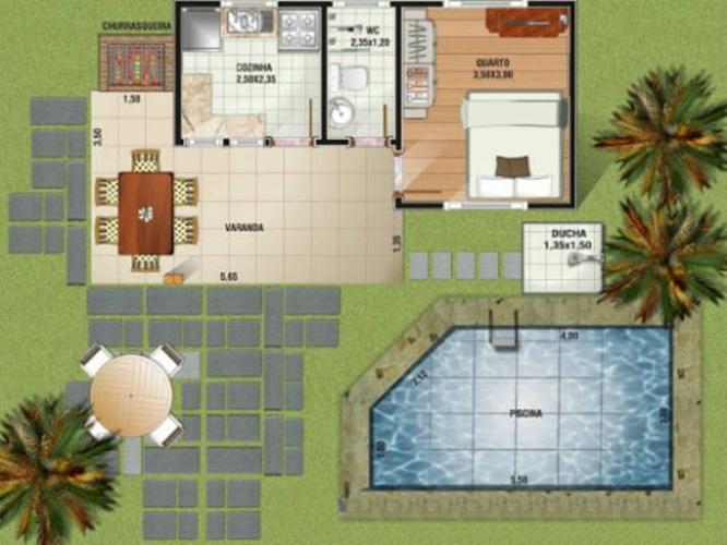 casa pequena com piscina