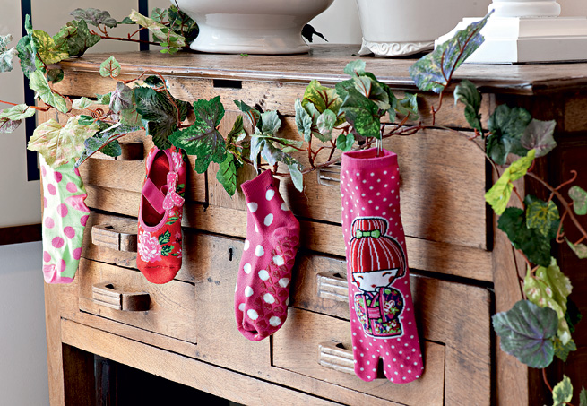 decoração com meias simples