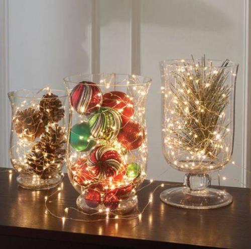 vasos decorados e iluminados