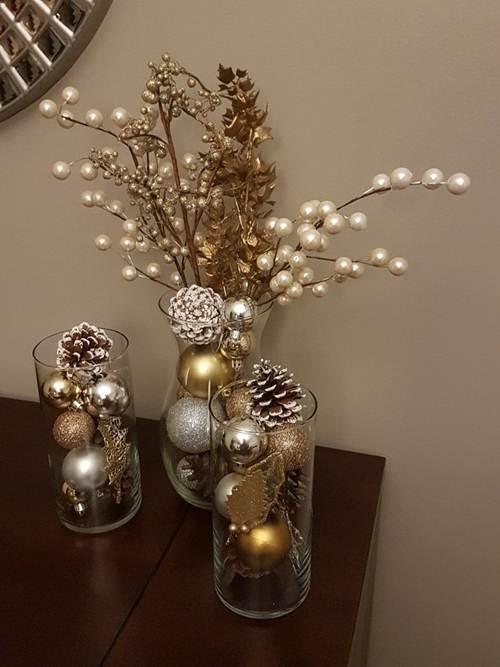 vasos com decoração de natal