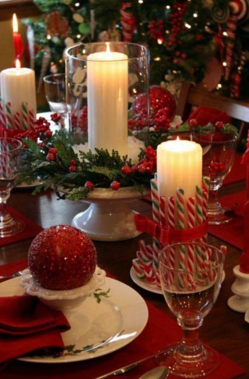mesa de decoração de natal