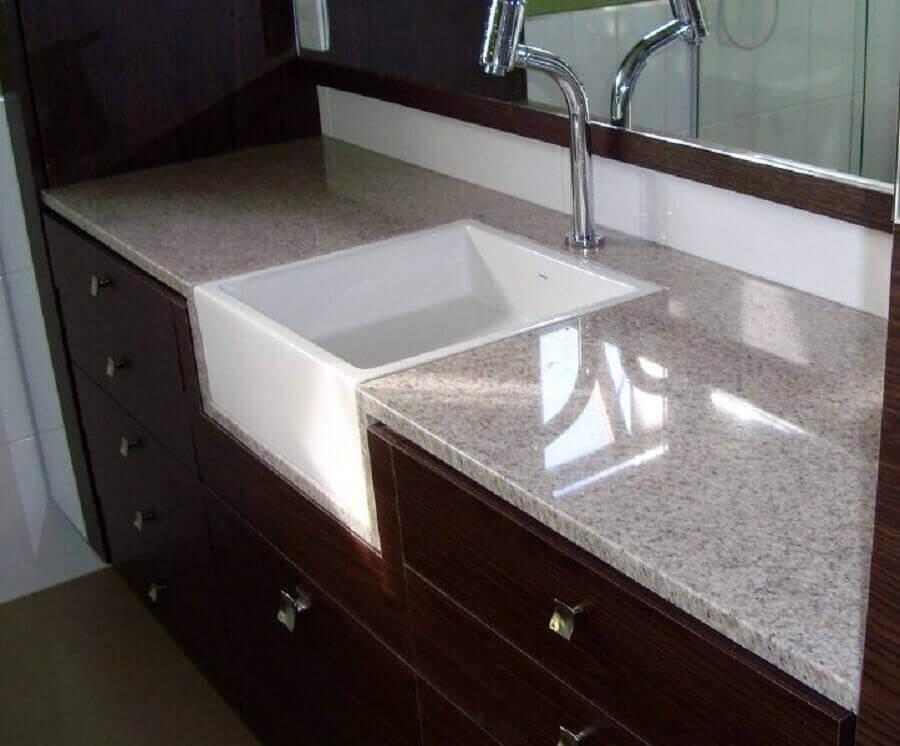 granito branco siena com cuba embutida