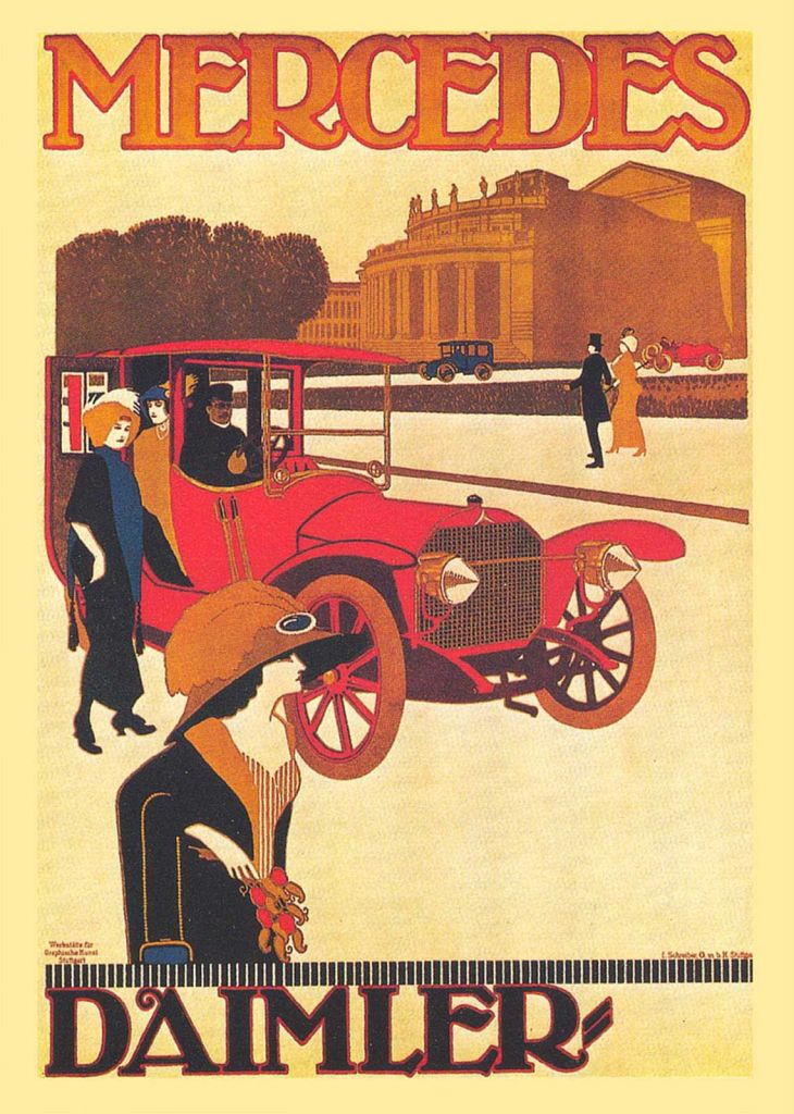 cartaz vintage com carro