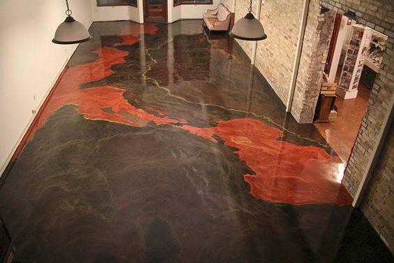 piso vermelho e preto