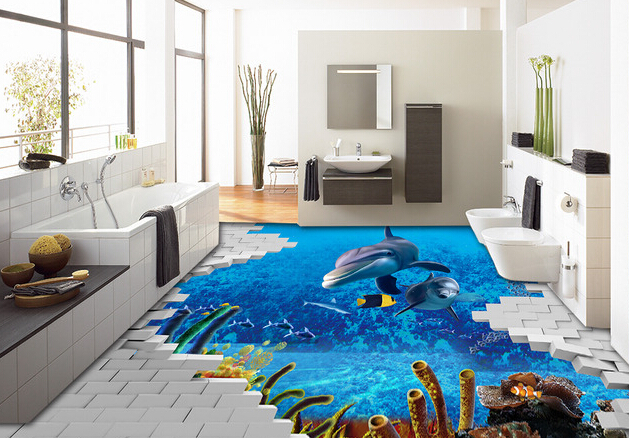 sala com piso 3D