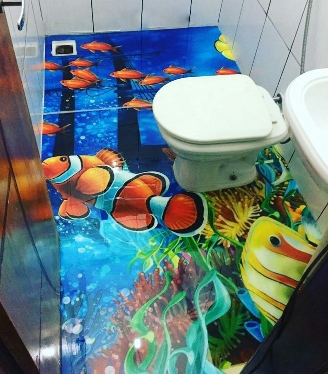 banheiro com efeito 3D