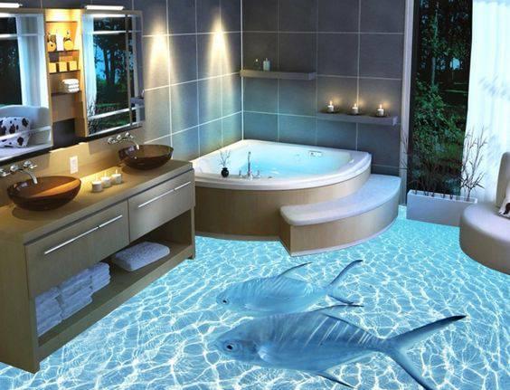 banheiro com efeito luminoso