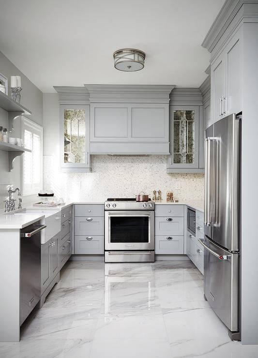 cozinha com efeito marmorizado