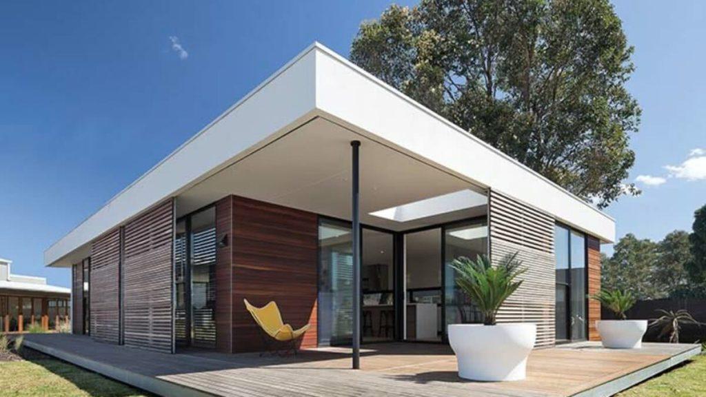 Fachada sofisticada de casa pré-fabricada
