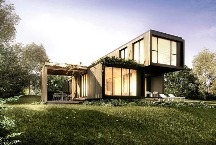 casa pré-fabricada com pé direito duplo bem moderno