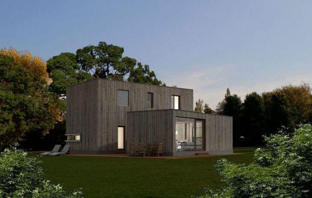 casa pré-fabricada de madeira envelhecida