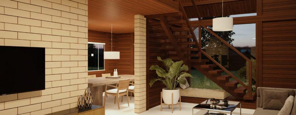 tijolo e madeira