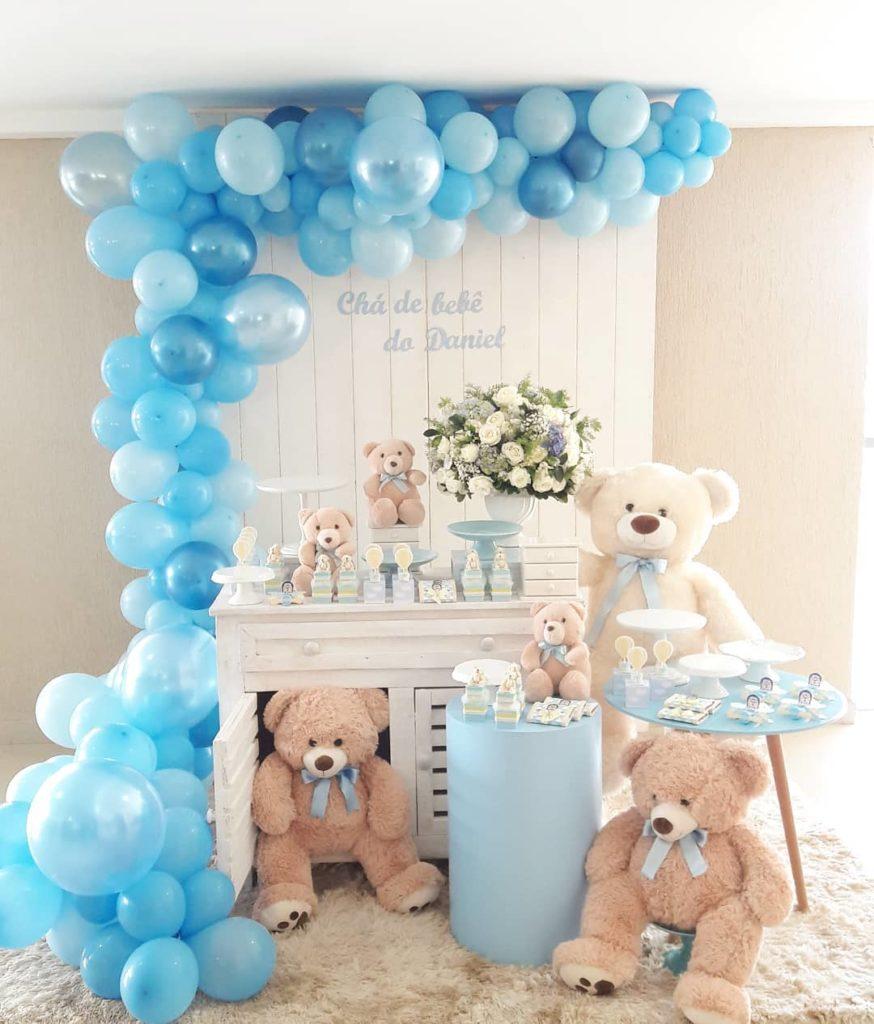 decoração de chá de bebe azul