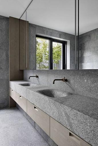 banheiro decorado cinza