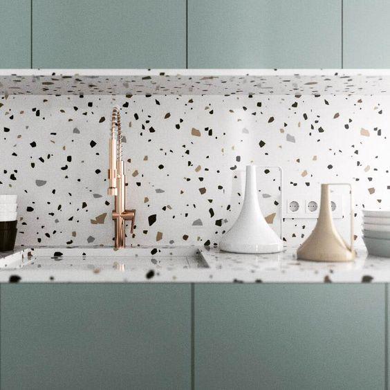 bancada e parede da cozinha com granilite
