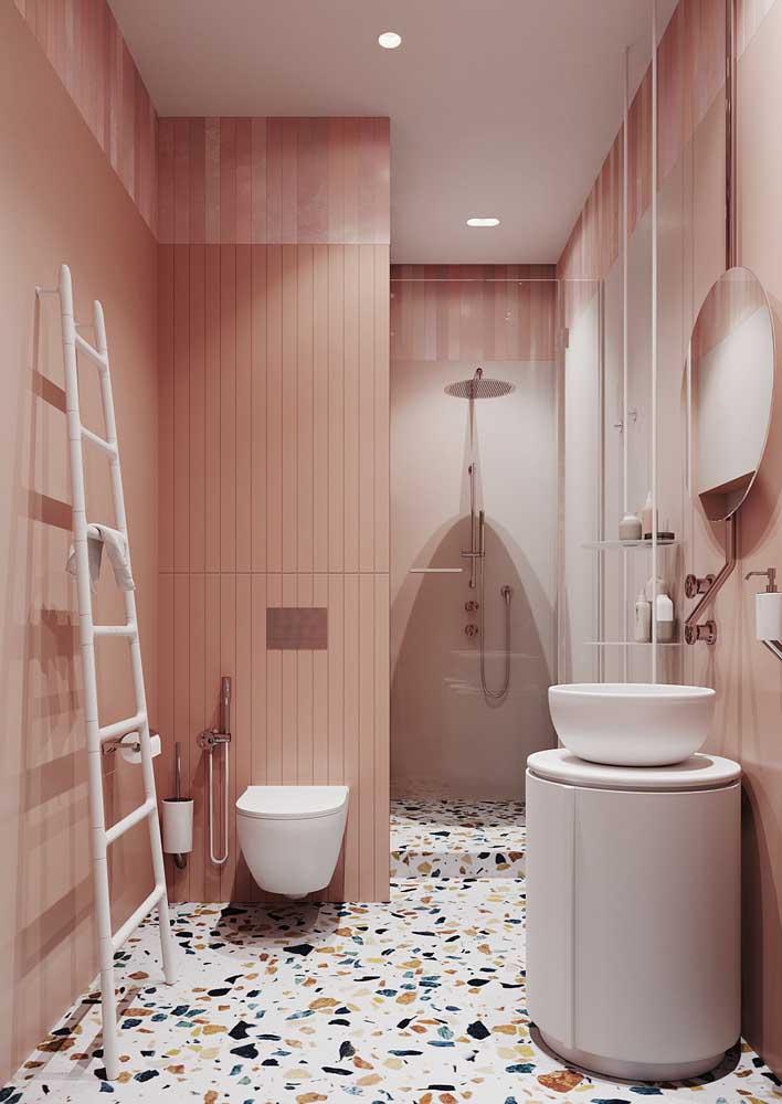 banheiro decorado salmão