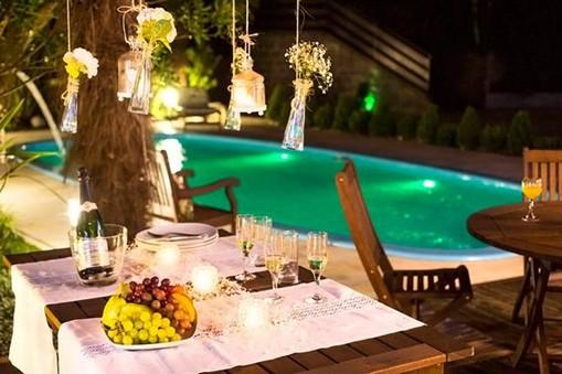 decoração de mesas externas