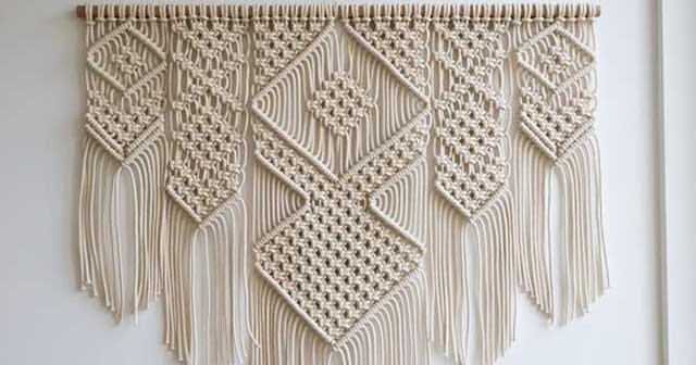 macramê linear para decoração