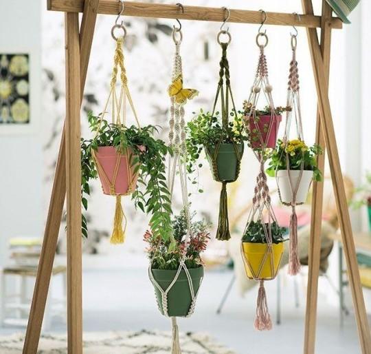 jardins feitos com macramê