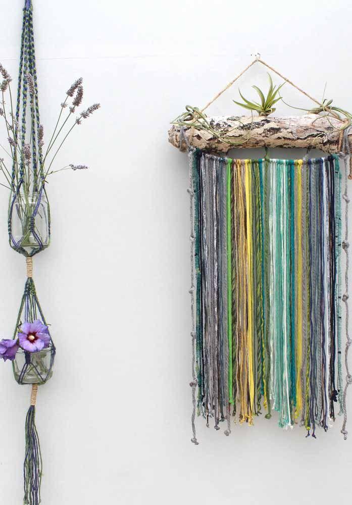 Aposte em itens naturais decorados com macramê