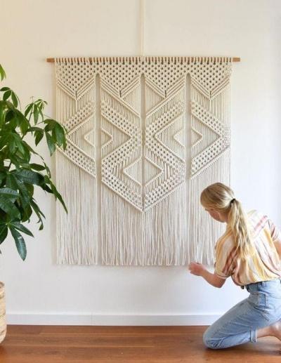macramê retangular para decorar parede