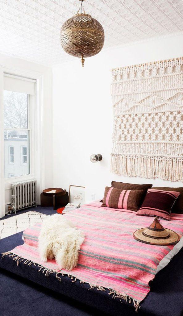 quarto decorado com macramê