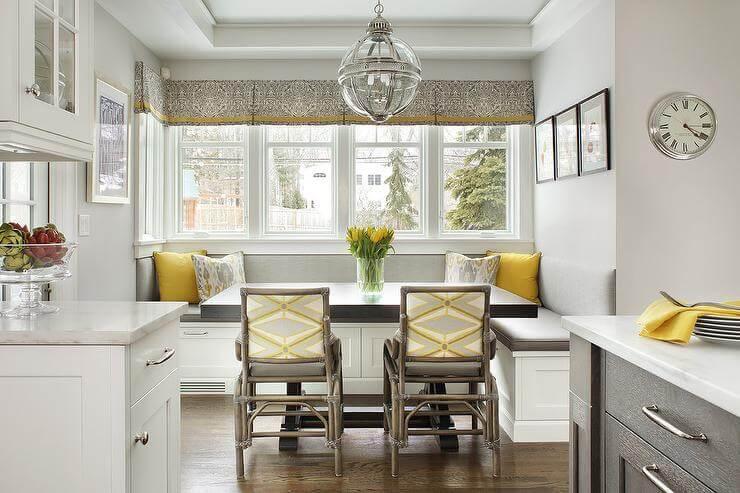 decoração cinza, branca e amarela
