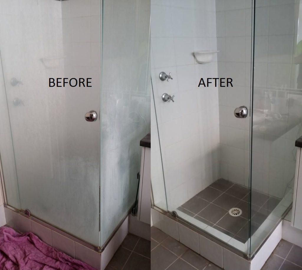 antes de depois de Como limpar box de vidro