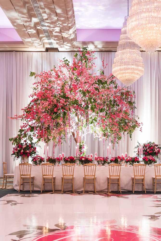 decoração de salão com flor de cerejeira