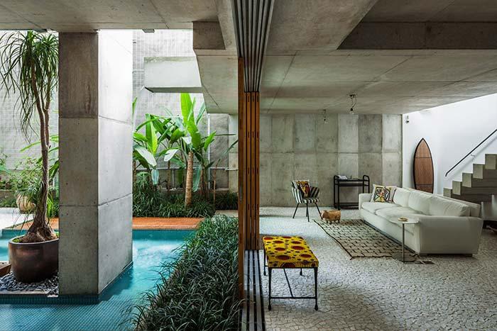 sala integrada com jardim