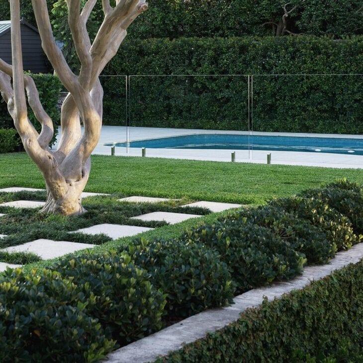 área de piscina com grama preta