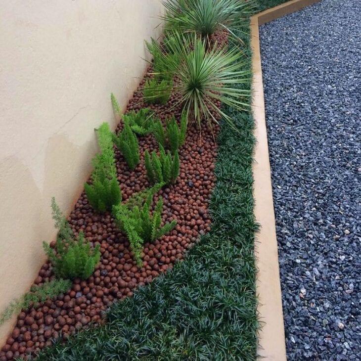 vegetação decorativa com grama preta