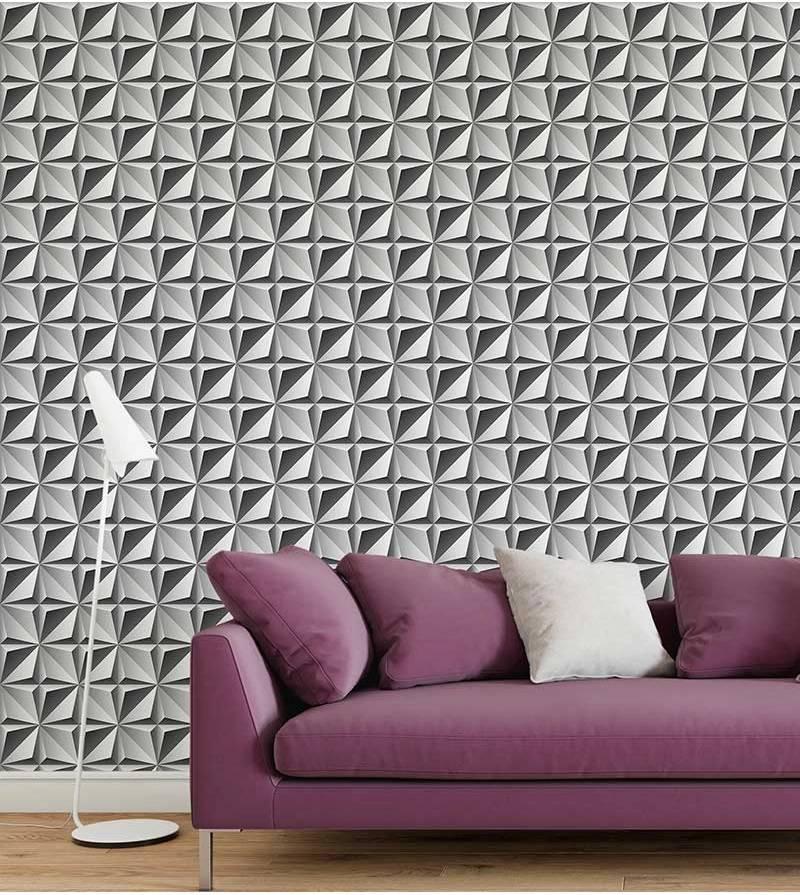 parede com decoraçao cinza