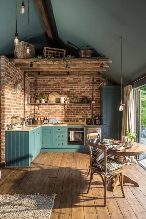 cozinha rústica azul