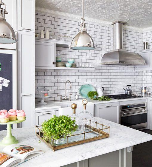 cozinha com parede branca
