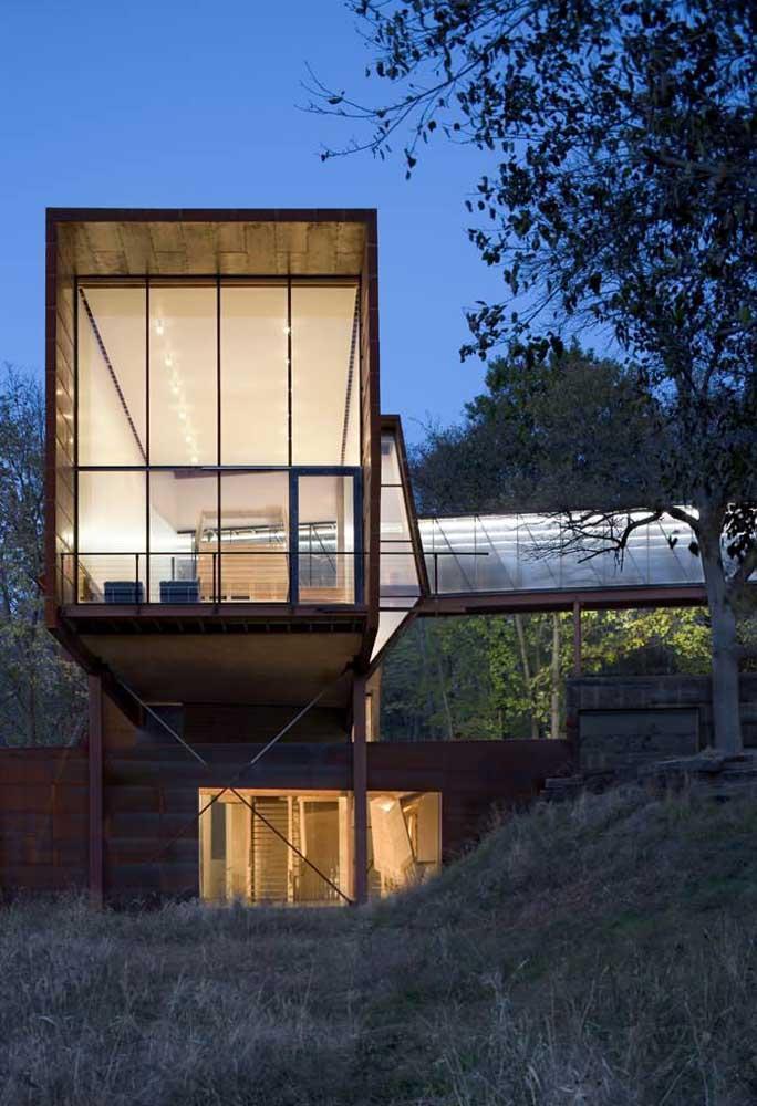 casa no campo de steel frame