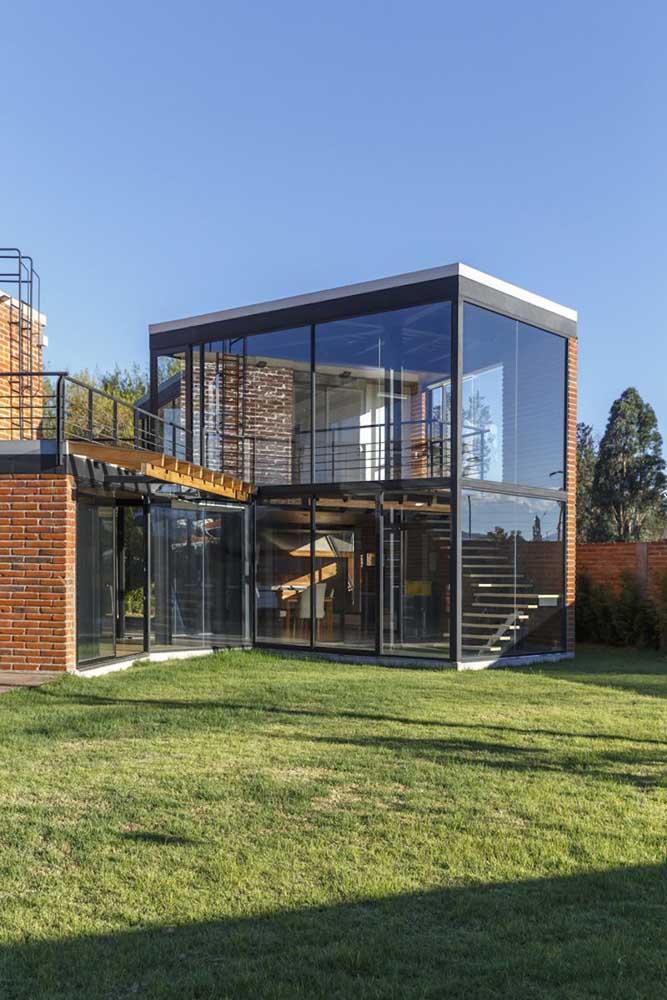 casa moderna em vidro