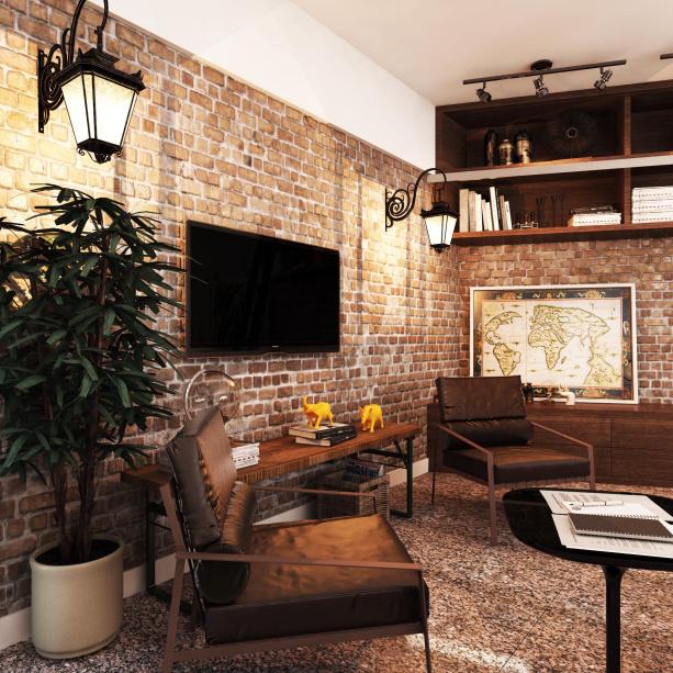 sala com decoraçaõ rustica