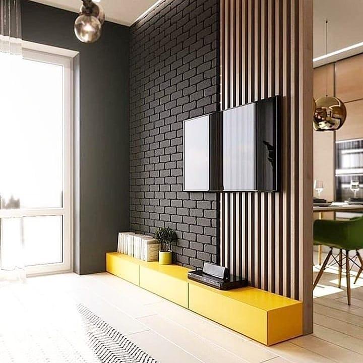 tijolo preto e madeira