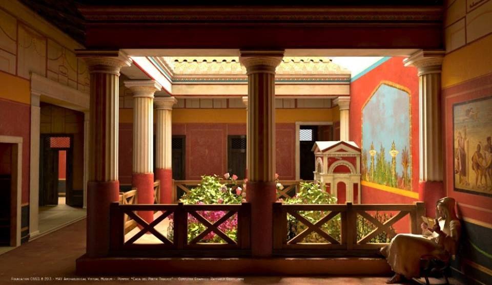 geração 3D da antiga pompeia