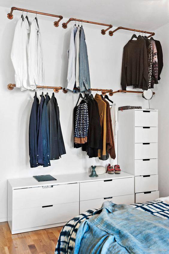 estilo industrial para closet pequeno