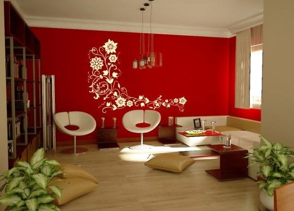 parede vermelha da sala