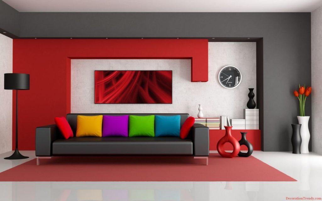 sala colorida e cinza