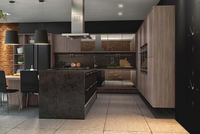cozinha marrom de pedra