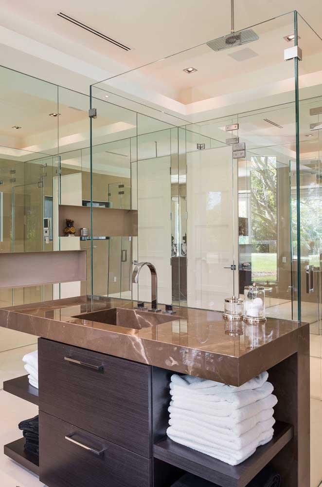 lavabo com granito marrom