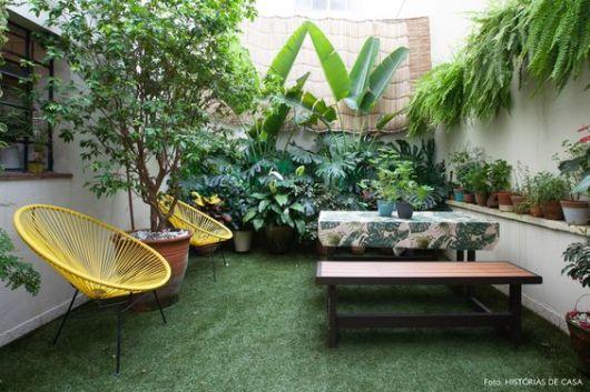 fundos de casa com jardim tropical