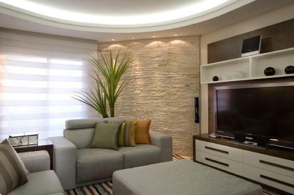 sala decorada com pedra