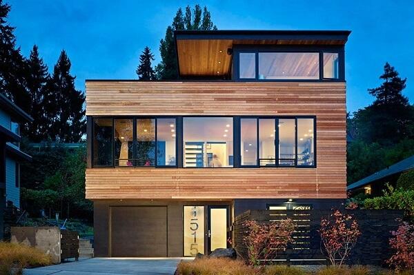 fachada em madeira