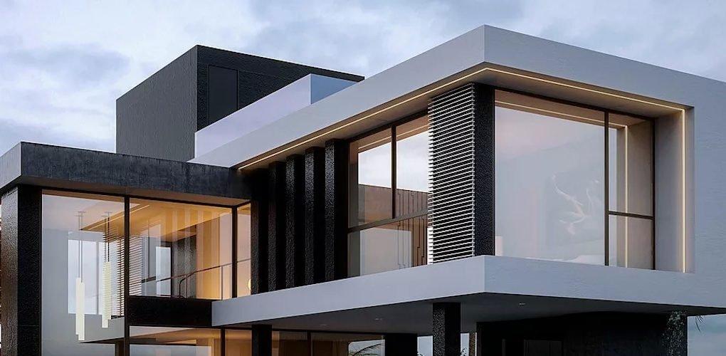 fachada com iluminação