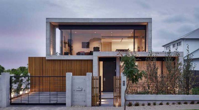fachada moderna em cimento queimado
